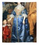 Van Dyck's Queen Henrietta Maria With Sir Jeffrey Hudson Fleece Blanket