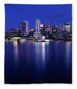 Vancouver Skyline At Night, British Fleece Blanket
