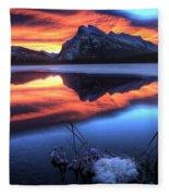 Vermillion Lakes Mount Rundle Fleece Blanket