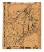 Vintage Train Ad 1887 Fleece Blanket