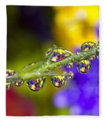 Water Drops On A Flower Stem Fleece Blanket