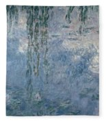 Waterlilies Morning With Weeping Willows Fleece Blanket