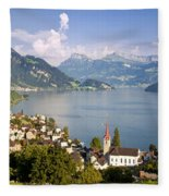 Weggis Switzerland Fleece Blanket