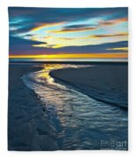 Wells Beach Maine Sunrise Fleece Blanket