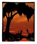 Wetland Wildlife - Sunset Sky Fleece Blanket