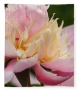 White And Pink Peony Fleece Blanket