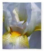 White And Yellow Iris 2 Fleece Blanket