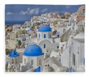 White Buildings With Steep Slope Fleece Blanket