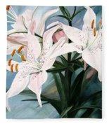 White Lilies Fleece Blanket