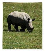 White Rhinoceros Calf  Fleece Blanket