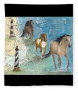 Wild Mustang Horses Outer Banks Lighthouses Nautical Chart Map Art Fleece Blanket