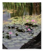 Wild Water Lilies In The River Fleece Blanket