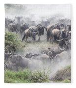 Wildebeest Migration 1 Fleece Blanket
