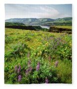 Wildflowers In A Field, Columbia River Fleece Blanket