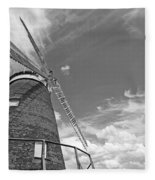 Windmill In The Sky In Black And White Fleece Blanket