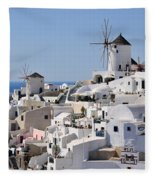 Windmills And White Houses In Oia Fleece Blanket