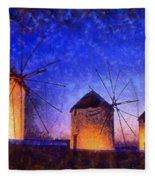 Windmills In Mykonos Island Fleece Blanket