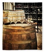 Wine  Glasses And Barrels Fleece Blanket