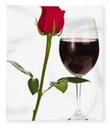 Wine With Red Rose Fleece Blanket
