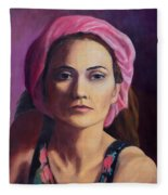 Woman In A Pink Turban Fleece Blanket