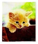 Yellow Kitten Fleece Blanket