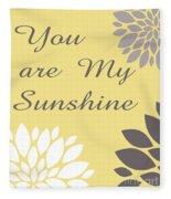 You Are My Sunshine Peony Flowers Fleece Blanket