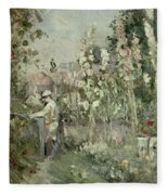 Young Boy In The Hollyhocks Fleece Blanket