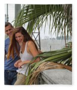 Young Couple Palm Tree Fleece Blanket