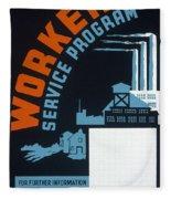 New Deal Wpa Poster Fleece Blanket