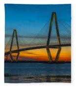 Arthur Ravenel Jr. Bridge At Sunset Fleece Blanket
