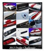 2012 Dodge Challenger-white-1 Fleece Blanket