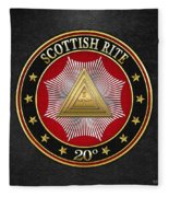 20th Degree - Master Of The Symbolic Lodge Jewel On Black Leather Fleece Blanket