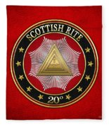 20th Degree - Master Of The Symbolic Lodge Jewel On Red Leather Fleece Blanket