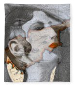 Ancient Cyprus Map And Aphrodite Fleece Blanket