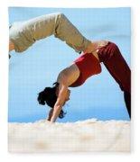 A Man And Woman Practicing Yoga Fleece Blanket