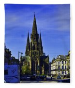View Of Episcopal Cathedral In Edinburgh Fleece Blanket