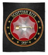 22nd Degree - Knight Of The Royal Axe Jewel On Black Leather Fleece Blanket