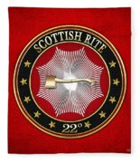 22nd Degree - Knight Of The Royal Axe Jewel On Red Leather Fleece Blanket