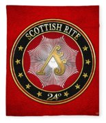 24th Degree - Prince Of The Tabernacle Jewel On Red Leather Fleece Blanket
