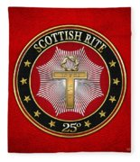 25th Degree - Knight Of The Brazen Serpent Jewel On Red Leather Fleece Blanket