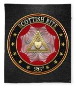 26th Degree - Prince Of Mercy Or Scottish Trinitarian Jewel On Black Leather Fleece Blanket