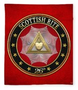 26th Degree - Prince Of Mercy Or Scottish Trinitarian Jewel On Red Leather Fleece Blanket