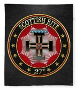 27th Degree - Knight Of The Sun Or Prince Adept Jewel On Black Leather Fleece Blanket