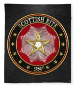28th Degree - Knight Commander Of The Temple Jewel On Black Leather Fleece Blanket