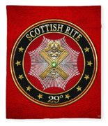 29th Degree - Scottish Knight Of Saint Andrew Jewel On Red Leather Fleece Blanket