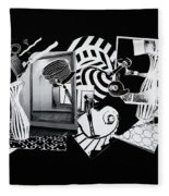 2d Elements In Black And White Fleece Blanket
