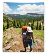 A Backpacker Hiking Fleece Blanket