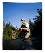 A Fly-fisherman In The Truckee River Fleece Blanket