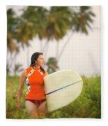 A Woman Carries A Surfboard To The Beach Fleece Blanket
