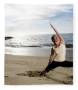 A Women At The Beach Performing Yoga Fleece Blanket
